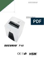 Niszczarka HSM Securio P40 Instrukcja Obsługi