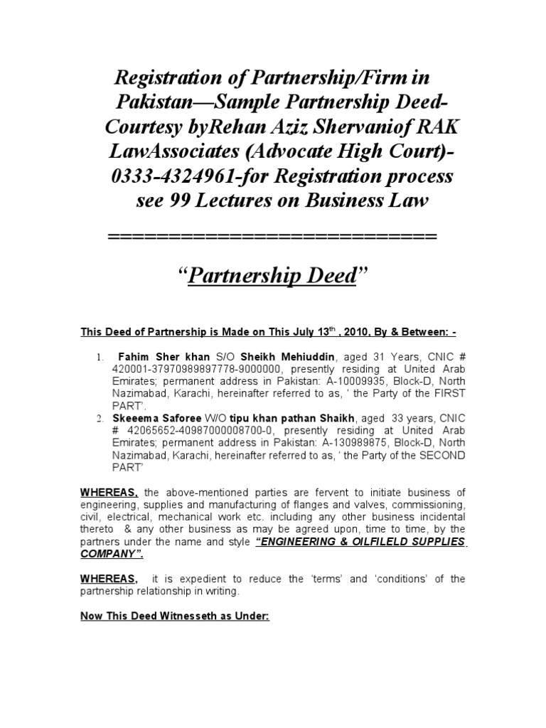 Registration of partnershipfirm in pakistansample partnership deed registration of partnershipfirm in pakistansample partnership deed rehan aziz shervani advocate high court 0333 4324961 for registration process see 99 thecheapjerseys