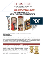 NOV 2012 - Rare and Unique Treasure Including Works With Royal Provenance