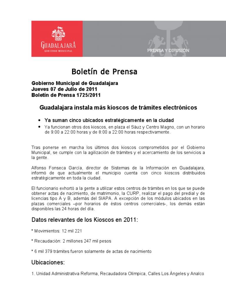 07 07 2011 Guadalajara Instala Más Kioscos De Trámites