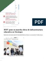 22-10-12 Sexenio Puebla - RMV Pone en Marcha Obras de Infraestructura Educativa en Xicotepec