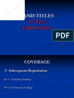Land Titles - End Lectures