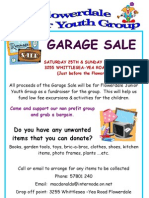 Garage Sale 25th & 26th November 2012
