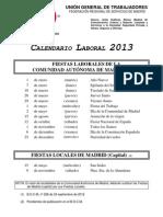 Calendario Laboral Comunidad Madrid y Locales 2013