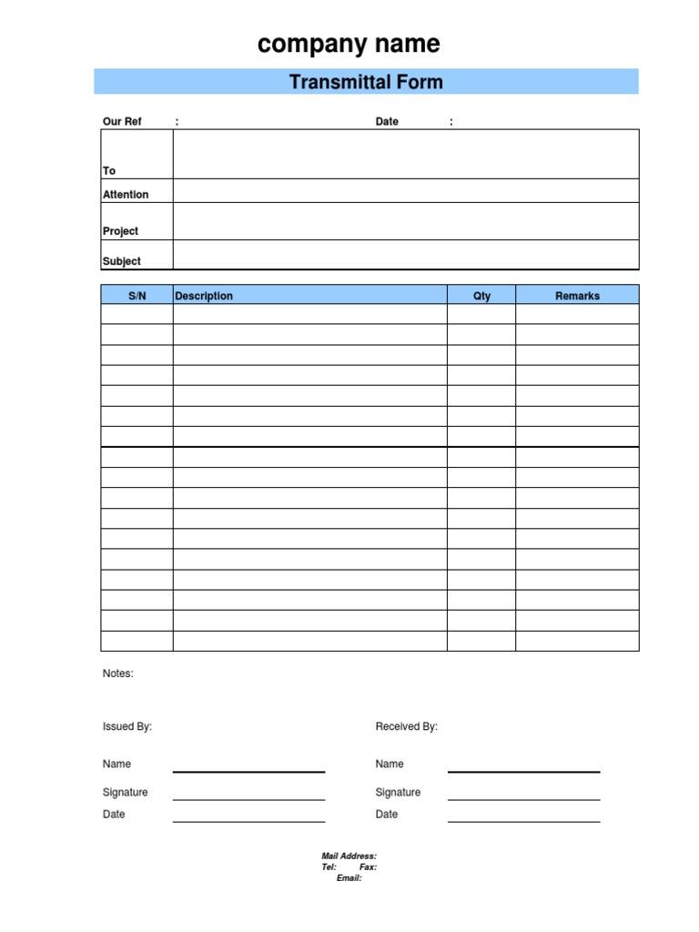 Document Transmittal Form – Document Transmittal Template Free