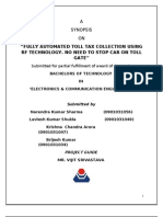 Automatic Tolltax Collection Using RF Technology Synopsis