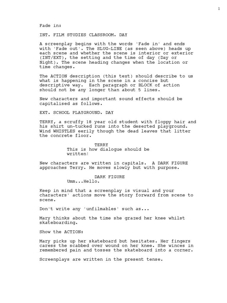 Screenplay Format (2 7K views)