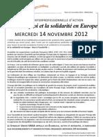 2012 - Journée interprofessionnelle d'action Pour l'emploi et la solidarité en Europe le 14 novembre