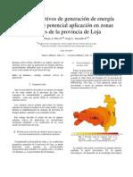 Sistemas activos de generación de energía eléctrica de potencial aplicación en zonas rurales de la provincia de Loja