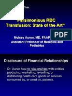 Evidence for Parsimonius RBC Transfusion