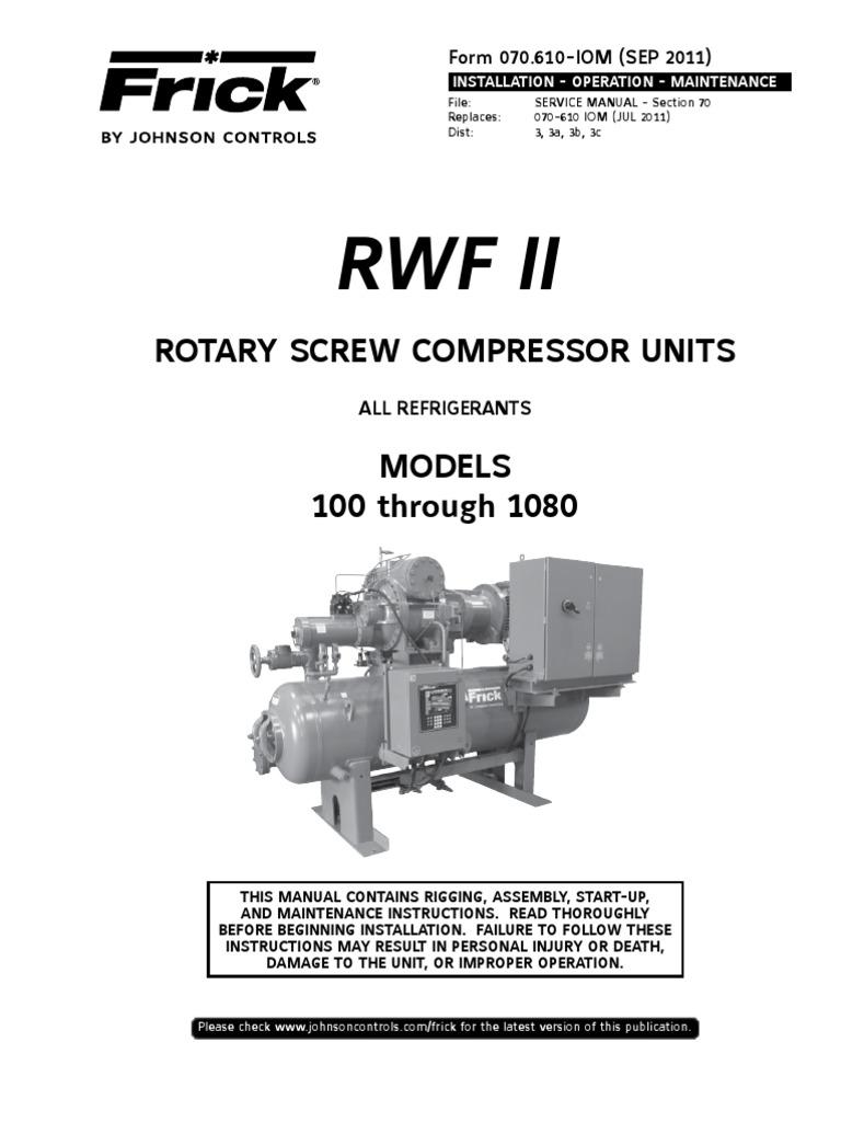 rwf ii rsc sgch b 3519 heat exchanger refrigeration rh scribd com Frick Compressor Parts Manual Screw Frick Compressor Tdsh233l2860