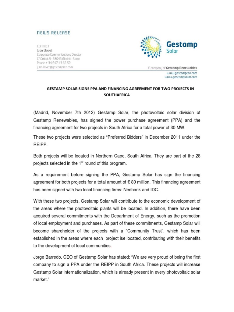 Gestamp Solar Signs Ppa And Financing Agreement For Two Projects In