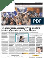 Obama supera a Rommney y se quedará cuatro años más en la Casa Blanca