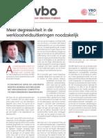 Meer degressiviteit in de werkloosheidsuitkeringen noodzakelijk, Infor VBO 34, 8 november 2012