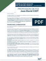 Profession de foi de Jean-David Ciot, Election du Premier secrétaire fédéral - 15 novembre 2012