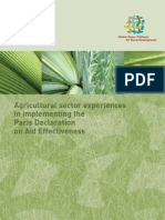 Agricultural Sector Experiences in Implementing the Paris Declaration on Aid Effectiveness