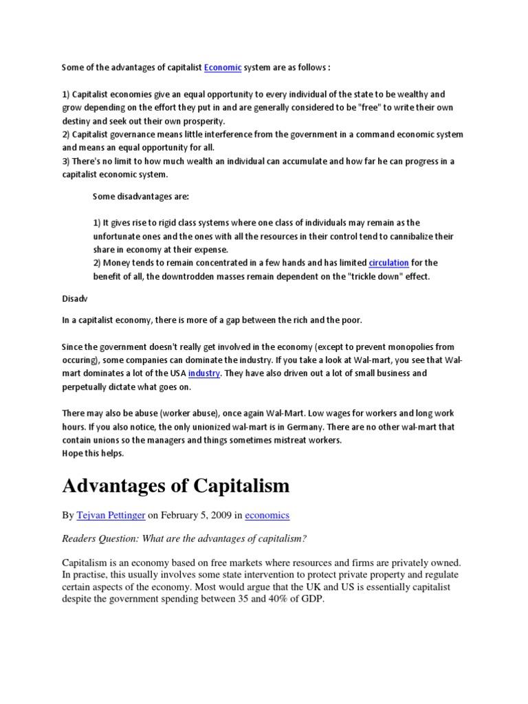disadvantages of capitalist economic system