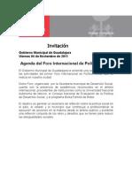04-11-2011 Agenda del Foro Internacional de Política Social