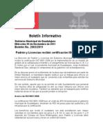 09-11-2011 Padrón y Licencias recibió certificación ISO 9001 2008