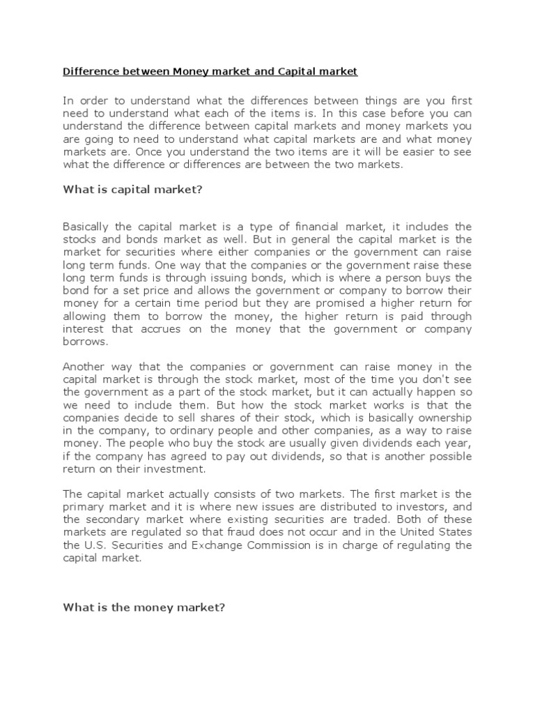 """compare and contrast capital market This is """"foreign exchange and the global capital exchange and the global capital markets company through the capital markets in contrast."""