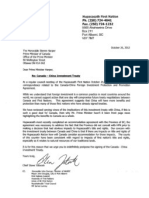 Canada China FIPA - Hupacasath First Nation Letter to PM Harper 1