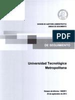 INFORME DE SEGUIMIENTO AL INFORME FINAL N° 148-2011 UNIVERSIDAD TECNOLÓGICA METROPOLITANA - SEPTIEMBRE 2012
