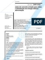 NBR 8452 PB 1081 - Postes de Concreto Armado Para Redes de Distribuicao de Energia Eletrica - Pad