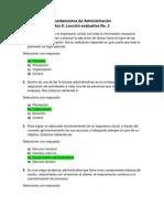 Act. 8 Lección evaluativa No. 2 - Fundamentos de Administración