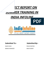Project Report on Summer Training in India Infoline