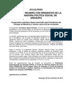NP. PREMIER SE REUNIRÁ CON DIRIGENTES DE LA COORDINADORA POLÍTICA SOCIAL DE AREQUIPA - 08112012