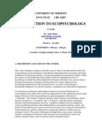 Intro to Ecopsychology - ENVS 195 Z2 - Course Syllabus
