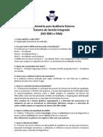 Questionário - Treinamento para Auditoria Externa 2012 - ISO 9001 e ONA