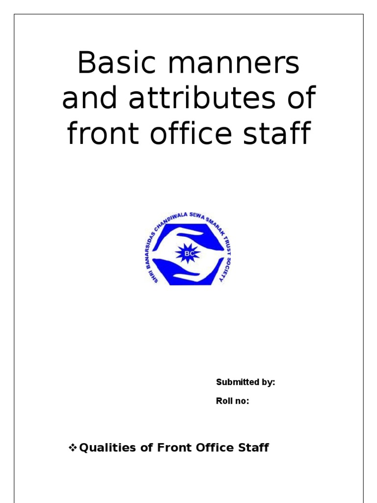 basic manners and attributes of front office staff etiquette