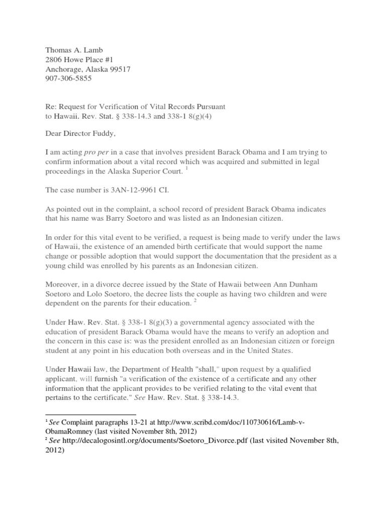 Hawaii Verification Birth Certificate Public Law