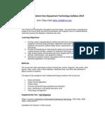 Patient Care Equipment Tech - HLTH 025 OL1 - Course Syllabus