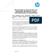HP Presenta Su Linea de PCs Con Microsoft Windows 8 Docx
