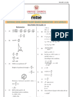 NSTSE Answer Key(Stage 2, Class 10, 29 Jan, 2012)