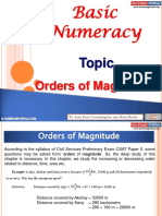 Basic Numeracy Order of Magnitude