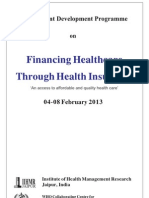 "MDP on ""Financing Healthcare Through Health Insurance"""