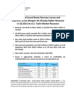 SGX-Listed Grand Banks Narrows Losses and Improves Gross Margins On Sharply Higher Revenue in 1Q 2013 As U.S. Yacht Market Recovers