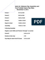 Veterans Day Assembly Schedule
