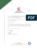 Escorts Ltd Acknowledgement