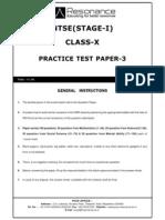 NTSE stage-1 Mock Test 3