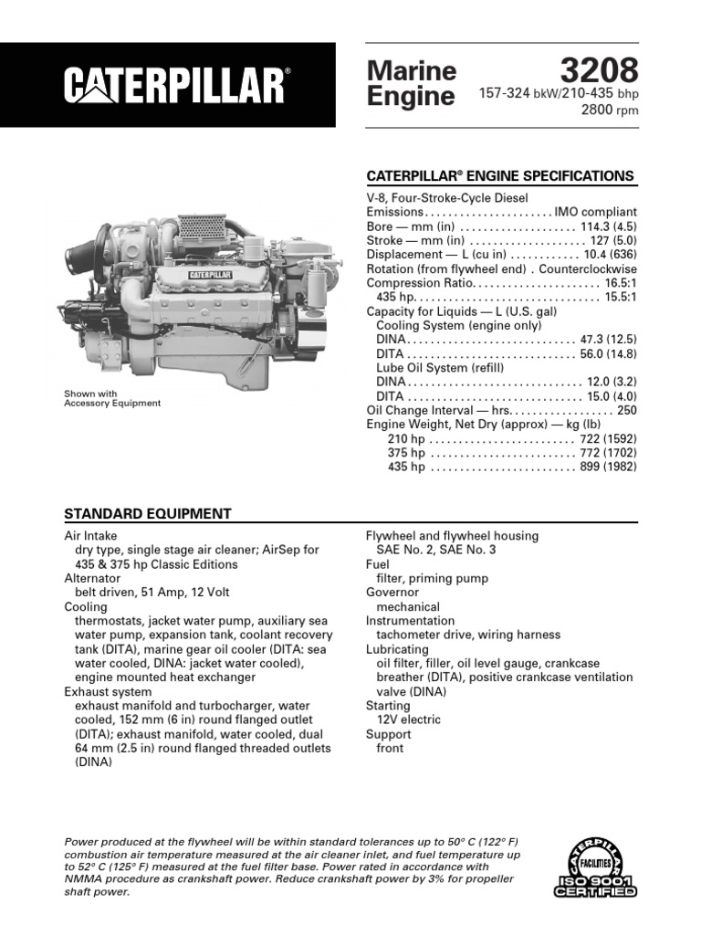 Spec Sheets - Cat 3208 Propulsion   Horsepower   Motor OilScribd