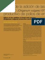 Efecto de la adición de las hojas frescas de orégano (origanum vulgare) en el rendimiento productivo de pollos de engorde.