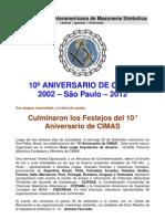 CIMAS, 10 ANNIVERSARIO
