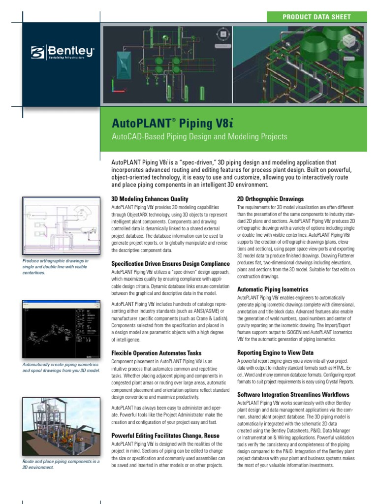 Autoplant Piping Product Data Sheet | 3 D Modeling | 64 Bit