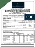 Ten Upper Employment Application Form