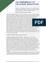 LOS PRODUCTOS TRANSGÉNICOS Y SU IMPLICANCIA EN LA SALUD