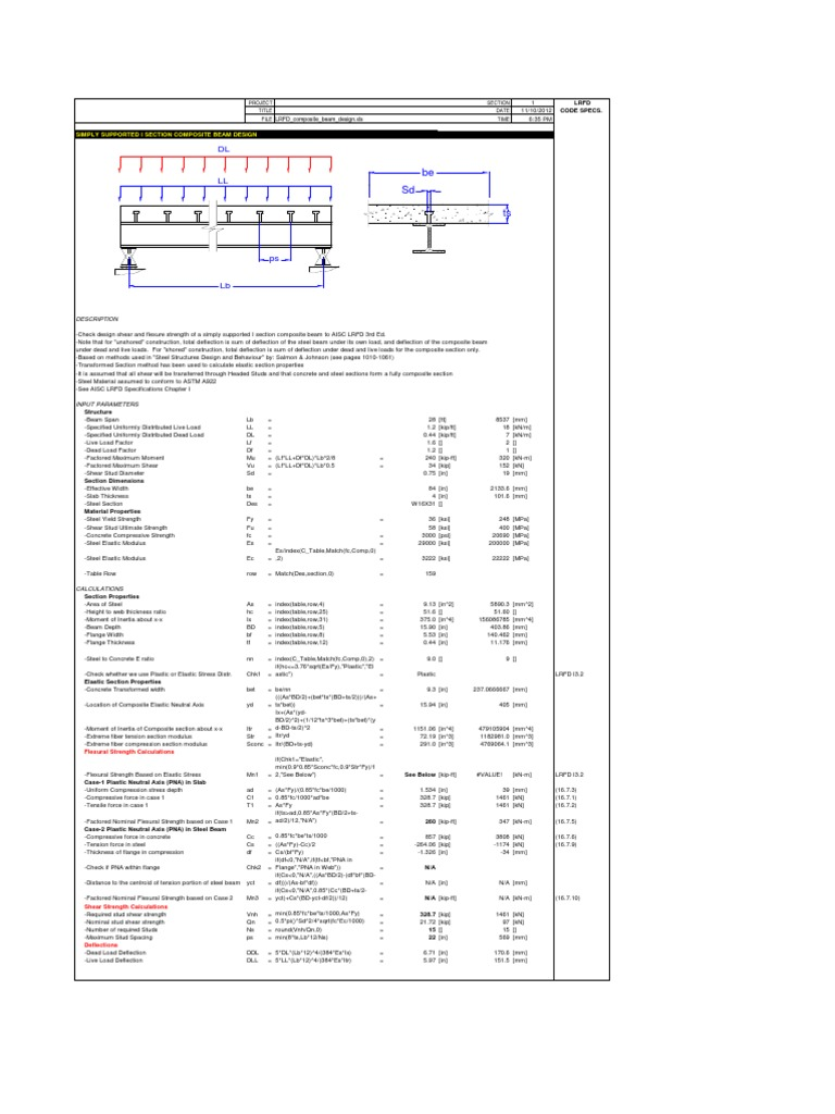 Lrfd Composite Beam Design Strength Of Materials Beam